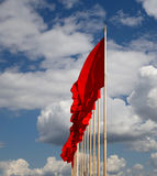 Red flags on the Tiananmen Square -- Beijing, China Royalty Free Stock Photography
