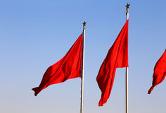 Red flags on the Tiananmen Square -- Beijing, China Royalty Free Stock Photos