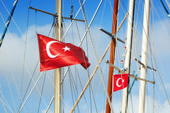 Red flags of Turkey Royalty Free Stock Photos