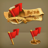 Red flags, vector icons. Set with red flags, vector icons royalty free illustration