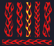 Red flame elements for the endless border. Red fire bars set, old school flame elements for the endless borders, isolated  illustration Stock Images