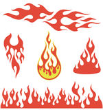 Red flame elements. Red fire, old school flame elements,   illustration Stock Photos