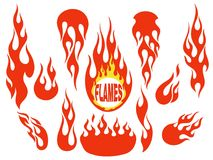 Red flame elements set. Red fire, old school flame elements set, isolated vector illustration Stock Photos