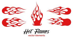 Red flame elements set royalty free illustration
