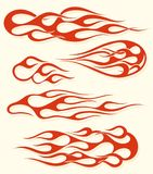 Red flame elements set. Red fire, old school flame elements set, isolated vector illustration Royalty Free Stock Photos