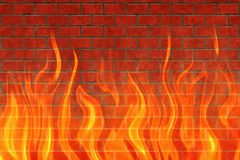 Red flame of fire on brickwall backgrounds. Red flame of fire on brickwall background Stock Images