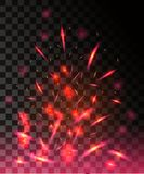 Red flame of fire with sparks flying up glowing particles on dark transparent background.  Royalty Free Stock Images