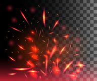 Red flame of fire with sparks flying up glowing particles on dark transparent background.  Royalty Free Stock Photos