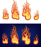 Red flame set. Isolated on white, dark backgrounds Stock Images