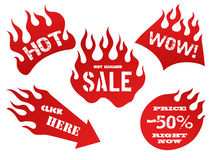 Red flame tag labels. Red fire, old school flame sale tag labels, isolated  illustration Stock Photo