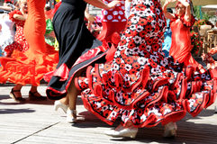 Red flamenco dresses Royalty Free Stock Images