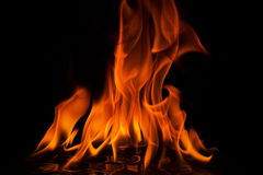 Red flames of fire on black background Stock Photography