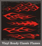Red Flames Set. A set of red flame vehicle graphics, great for stickers and decals Royalty Free Stock Images