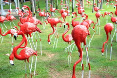 Red flamingos statue Royalty Free Stock Photo