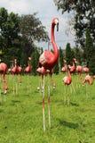 Red flamingos statue. Stock Photos
