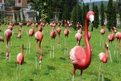 Red flamingos statue. Royalty Free Stock Photos