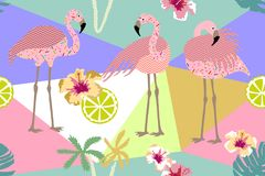Red flamingos and tropical landscape. Seamless vector pattern with exotic birds and flowers inspired by 90s design. Colorful composition for textile, cards and royalty free illustration
