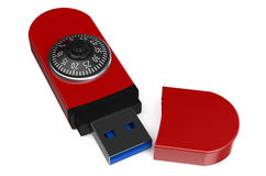 Red flash drive with a combination lock. Isolated on white background Stock Images