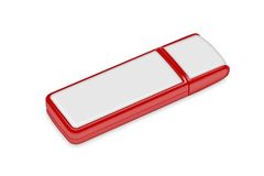 Red flash drive  on a white background Royalty Free Stock Images