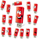Red flash drives. Illustration of red flash drives with multiple facial expressions Royalty Free Stock Image