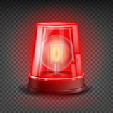 Red Flasher Siren Vector. Realistic Object. Light Effect. Beacon For Police Cars Ambulance, Fire Trucks. Emergency. Flashing Siren. Transparent Background Royalty Free Stock Photos