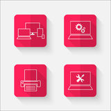 Red flat buttons with computer theme Stock Photo