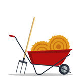 Red flat gardening wheelbarrow with hay and pitchfork isolated on white background. Tool constraction farming wheel icon Royalty Free Stock Photography