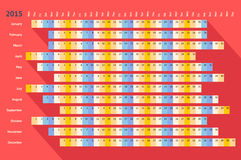 Red flat linear calendar 2015 with long shadow Stock Photography