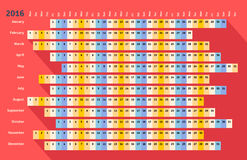 Red flat linear calendar 2016 with long shadow Royalty Free Stock Photo