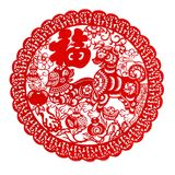 Red flat paper-cut on white as a symbol of Chinese New Year of the Dog 2018. The Chinese means fortune and family THIS IS A PHOTO royalty free stock photo