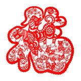 Red flat paper-cut on white as a symbol of Chinese New Year of the Dog 2018 Stock Photo