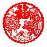 Red flat paper-cut on white as a symbol of Chinese New Year of the Dog 2018. The Chinese means fortune and family THIS IS A PHOTO royalty free stock photography