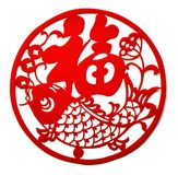 Red flat paper-cut on white as a symbol of Chinese New Year. The Chinese means fortune Royalty Free Stock Photo