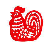 Red flat paper-cut on white as a symbol of Chinese New Year of the Rooster Royalty Free Stock Photography