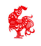 Red flat paper-cut on white as a symbol of Chinese New Year. Of the Rooster 2017 Royalty Free Stock Photography