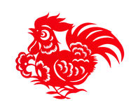 Red flat paper-cut on white as a symbol of Chinese New Year of the Rooster Stock Image
