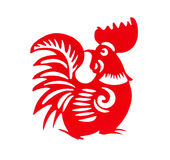 Red flat paper-cut on white as a symbol of Chinese New Year of the Rooster. 2017 Royalty Free Stock Photos