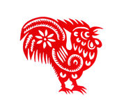 Red flat paper-cut on white as a symbol of Chinese New Year of the Rooster. 2017 Stock Photos