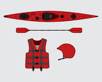 Red flat rafting vector set Royalty Free Stock Image