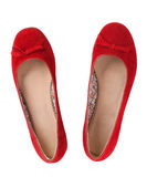 Red flat shoes Royalty Free Stock Photo