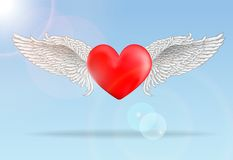 Red flaying heart with wings Stock Image