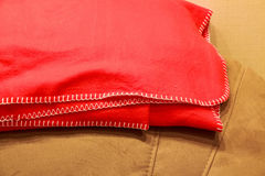 Red Fleece Blanket Close Up Stock Photo