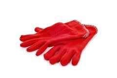 Red fleece gloves Stock Image