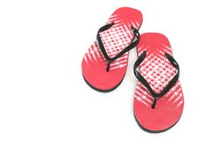 Red Flip Flops Featured on White Background Top View Royalty Free Stock Photography
