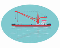 Red floating crane Stock Photography