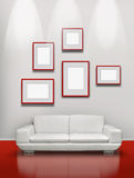 Red Floor White Gallery Royalty Free Stock Photography