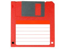 Red floppy disk. Floppy disk isolated on white with the clear label to write on it Stock Photography