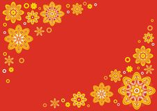 Red floral background. It is a colourful vector background with flower motives Royalty Free Stock Photos