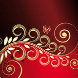 Red floral background Stock Photography