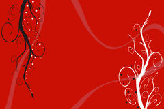 Red floral background. Black and white plants on red background Royalty Free Stock Photos